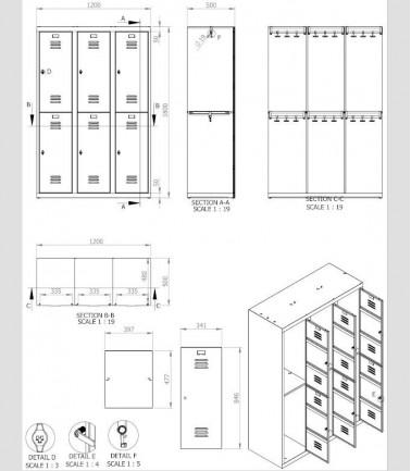 vestiaires metalliques biplaces de 6 casiers largeur 40 cm