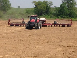 Our 24-row CIH model 1250 corn planter.  Ross is the operator.