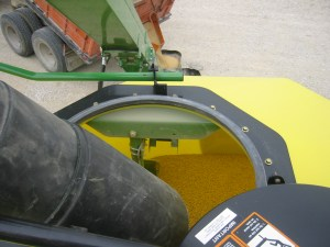 You can see the soybean seed tumbling down into the seed tank