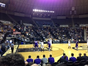 7-foot freshman AJ Hammnds shoots a free throw during the Western Illinois game at Purdue on Wednesday, March 20.  This was a first-round game of the CBI tournament.