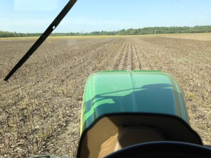 This is my view as I plant soybeans.  The AutoTrac makes for some straight rows!