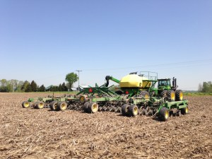 It's nice to see some dust on this machine.  It plants a swath of 50 feet, or 60 rows spaced 10 inches apart.