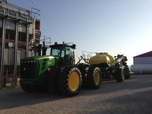 Ready to go this morning to replant soybean acres killed in the June flood event of White River.  Will this be the last day of soybean planting for 2013?  Hope so!