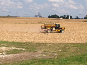 The CPS Air-Flow applicator machine, with Gary at the helm, applies the blend of seed and fertilizer to the soil.  Gary has done this very successfully for us for many years.