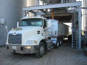 Here you see our Vision truck being filled with corn from the #3 overhead load-out bin
