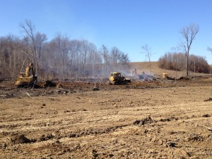 Looking toward Kessinger Ditch (west side of farm) you can see all four machines on task.