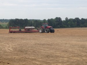 The last corn rows of 2014 get laid down into place at the Lett Farm.  Planting complete...finally!