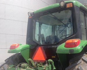 This is the rear window of the JD 7130 tractor.  We had to replace it when it was broken out last week while using the bush hog.  We ordered the new glass on Friday, and got it on Tuesday.