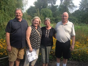 Pat and I with Sheila and John Hobson pause in the beautiful gardens at the Creation Museum, not many miles from their home.