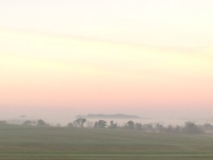 A foggy morning, a beautiful one, greets us this day.