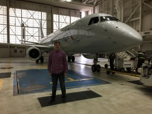 In this hangar in Indianapolis, Ben was introduced to this Embraer jet.  He is now a First Officer on this model of regional-sized (75 passenger) jet, which he flies for Republic Airlines.