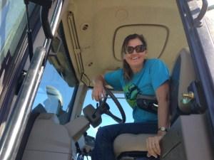 Rhoda has spent many days operating the grain cart.