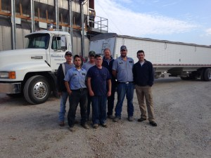 A 'team picture', taken by Rhoda to show the folks that helped bring in the harvest. L to R: Ross, Brandon, Bill, Larry, Dennis, John and French guest Damien