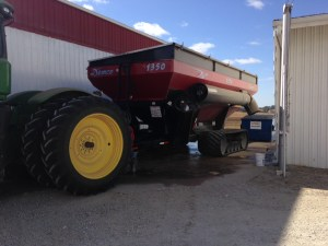 The grain cart got washed. It was easier this year, because there was never a time it had to run in the mud.  Notice the back wheel of the 9360R?  No mud, just dust...
