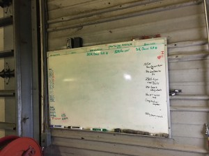 On the white board in the shop, we post the winter repair tasks as we discover them. It is so very satisfying to erase them when they are completed!
