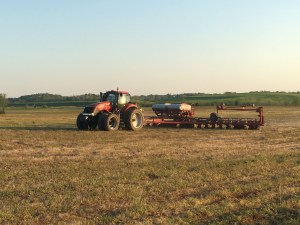 Ross and Brandon work at the Crook farm with the MX290 and 1250 24-row corn planter
