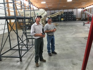 At our local CPS plant, Greg Anthis describes to Angus the seed treatment process