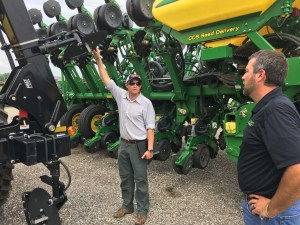 At our John Deere dealer, Alliance Tractor, Jason Boyles showed Angus a type of nitrogen application equipment. This type of machine was new to Angus.