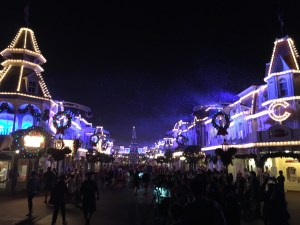 On our last night, we went to Mickey's Very Merry Christmas Party, and there was snow on Main Street.