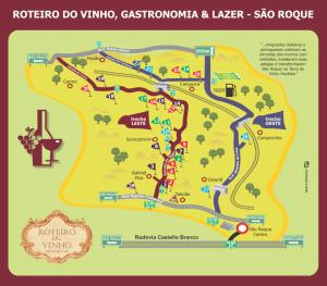Mapa do Roteiro do Vinho em São Roque