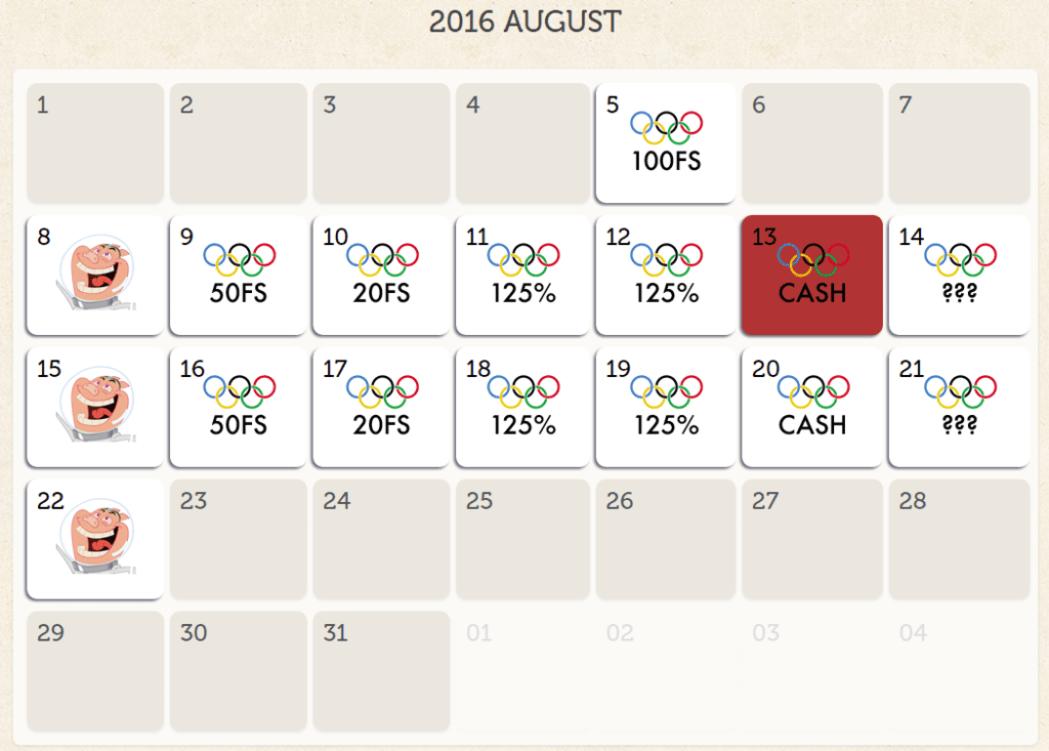 SpinEmpire Casino : 2016 Rio Summer Olympics August Bonus Calendar