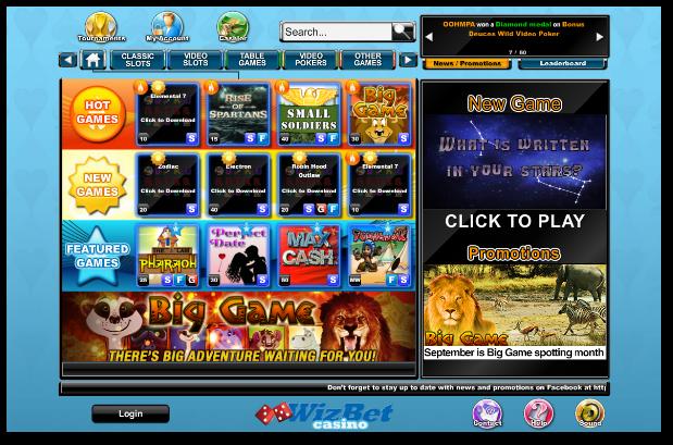 WizBet Online Casino Games Lobby