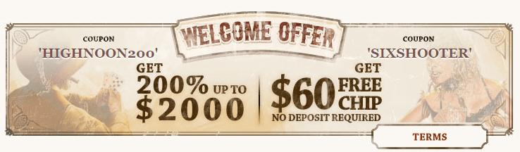 HighNoon Casino 200% Match Bonus up to $2000 $60 FREE Chip
