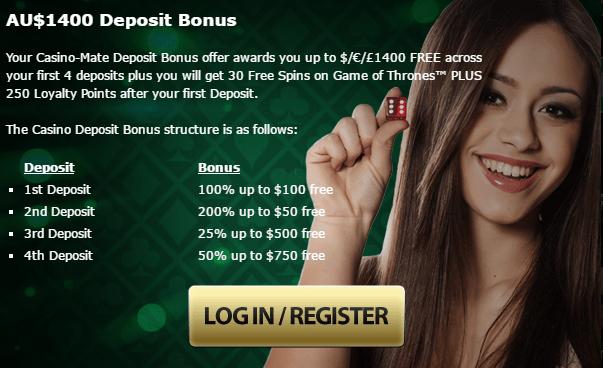 Casino Mate 5 tiers $1400 FREE Welcome Bonus