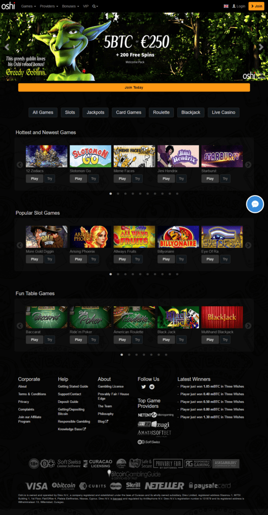 Oshi Bitcoin Casino English Russian Swedish Portuguese International Languages Welcome Lobby