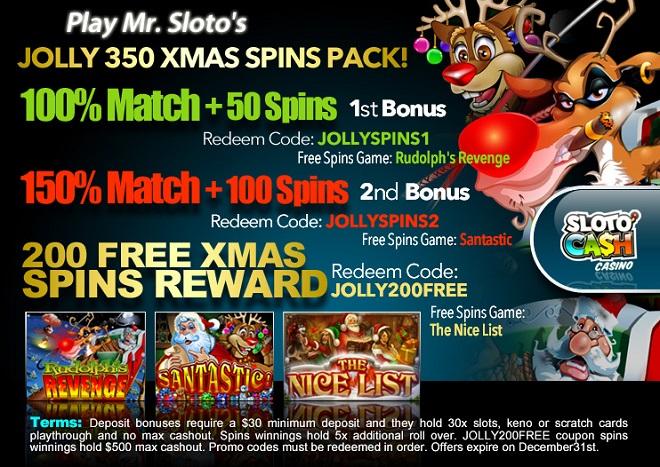 SlotoCash Casino Jolly Spins Xmas FREE Spins