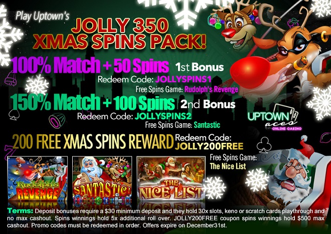 Uptown Aces Jolly Spins 350 Xmas FREE SPins