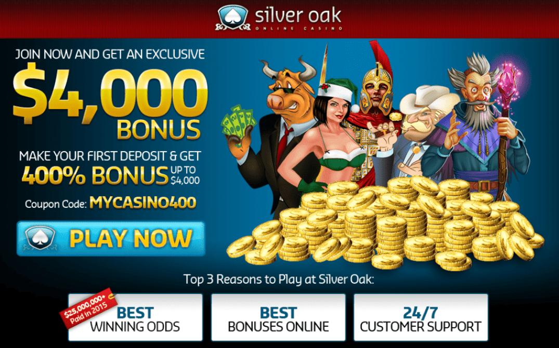 Silver Oak $200 No Deposit Bonus 2021
