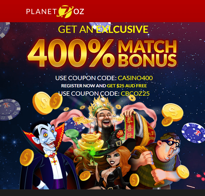 Planet 7 OZ Casino 400% Match Bonus