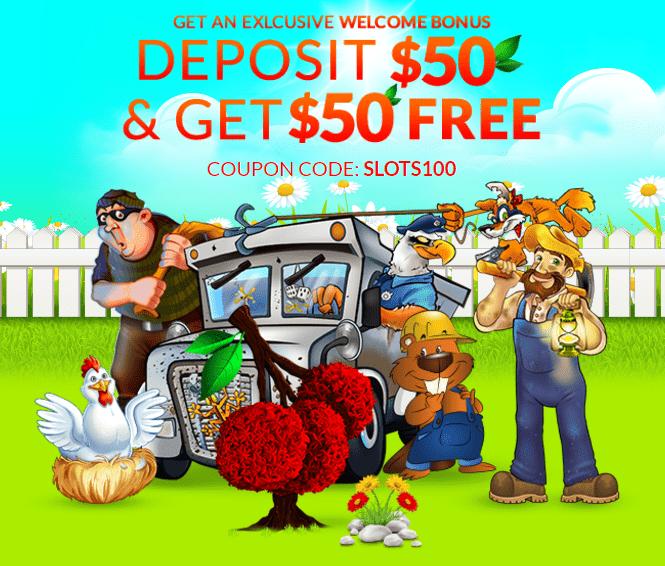 Slots Garden Welcoem Bonus Deposit $50 and Get $50