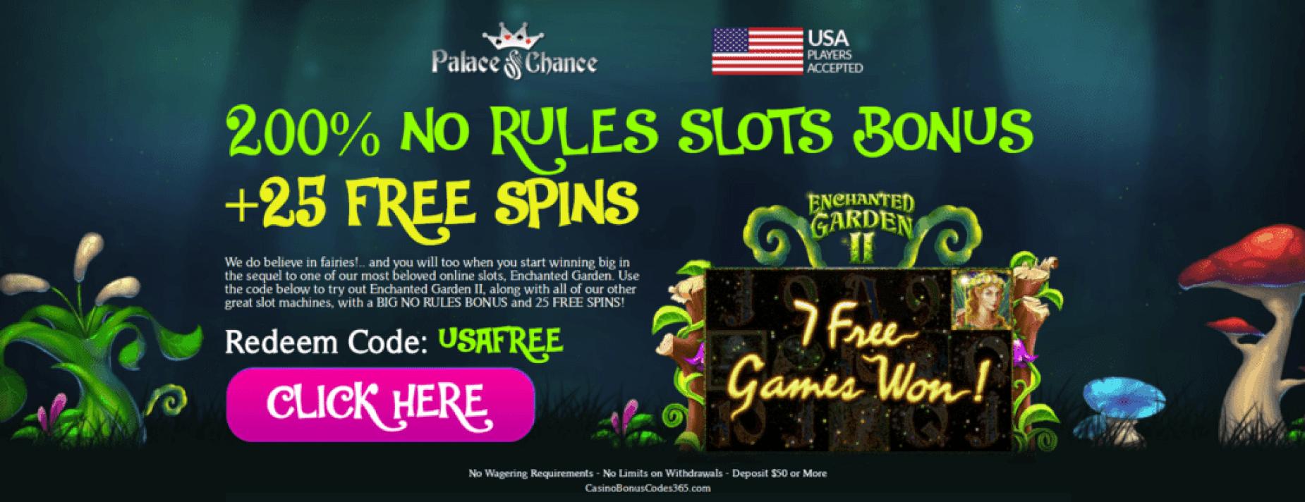 Palace of Chance Online Casino 200% No Rules Slot Bonus Plus 25 FREE Spins