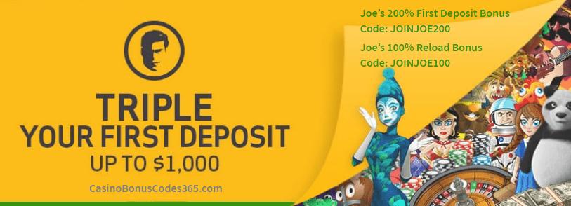 Joe Fortune Triple your first deposit bonus