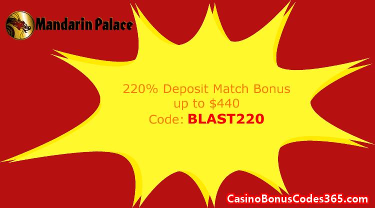 Mandarin Palace Online Casino  220% Match up to $440