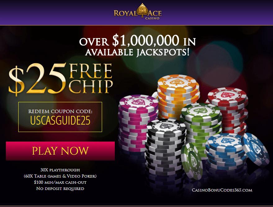 Royal Ace Casino Jackpots $25 No Deposit FREE Chips
