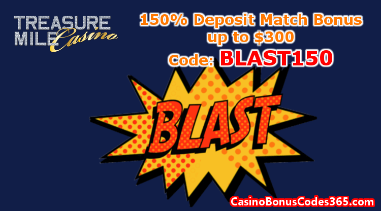 Treasure Mile Casino 150% Match Bonus up to $300
