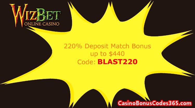 Wiz Bet Online Casino 220% Match up to $440
