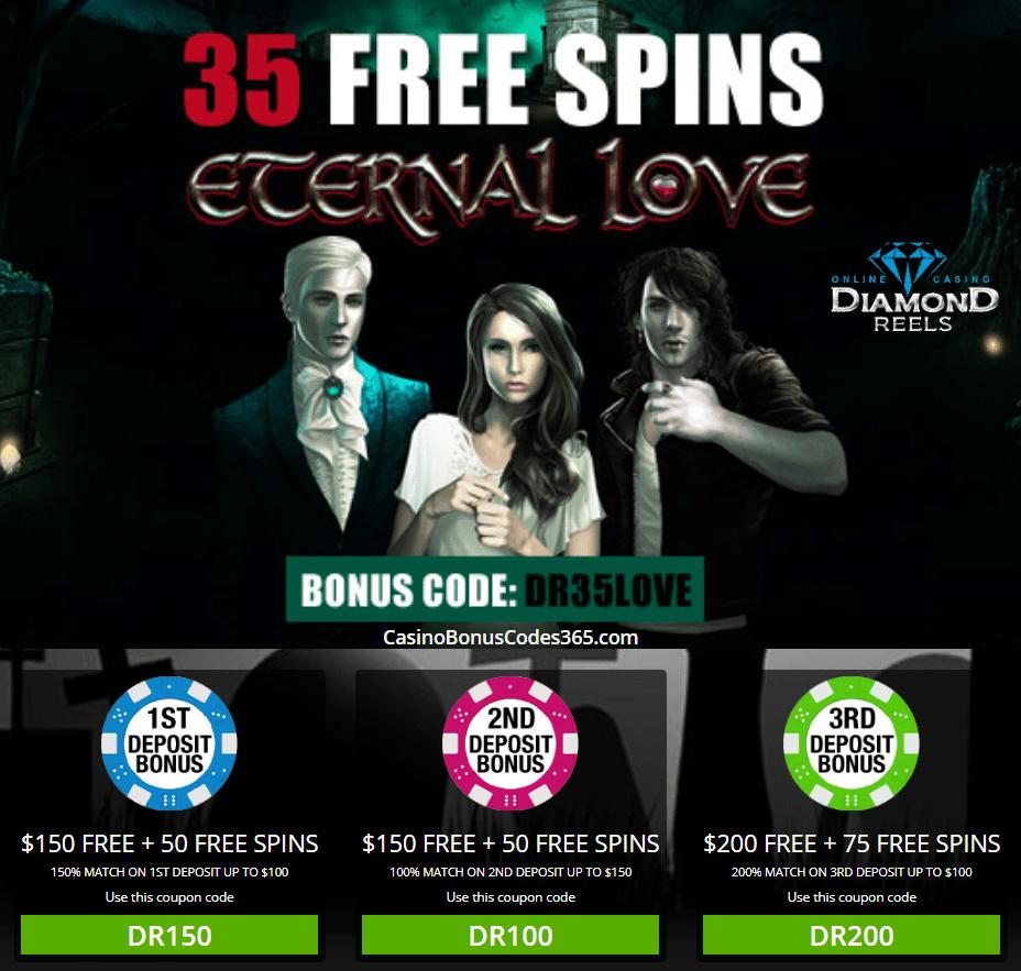 Diamond Reels Casino 35 No Deposit FREE Spins on Eternal Love