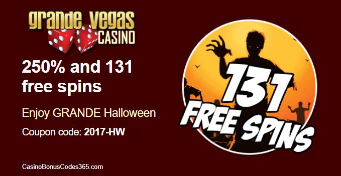 Grande Vegas Casino 250% Bonus plus 131 FREE Spins Halloween Promo