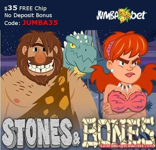 Jumba Bet $25 No Deposit FREE Chips Saucify Stones and Bones