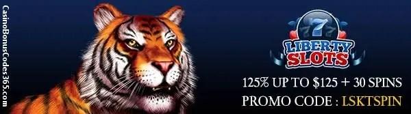 Liberty Slots November 125% up to $125 plus 30 Spins on King Tiger