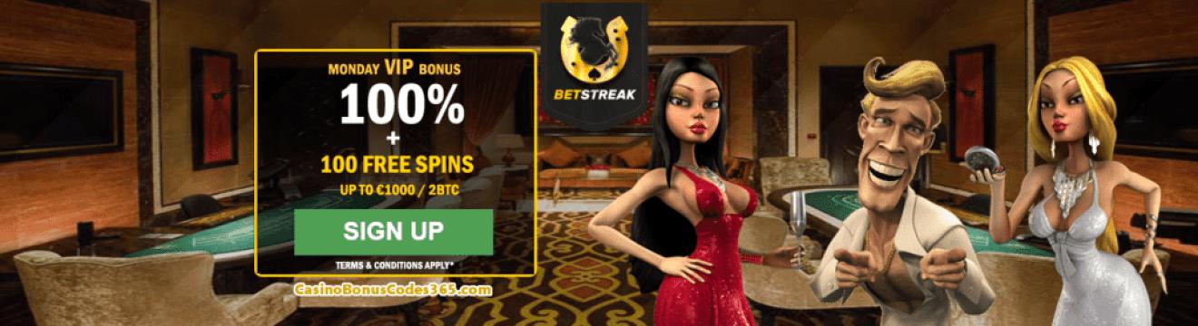 BetStreak Bitcoin Casino Monday VIP Bonus 100% plus 100 FREE Spins