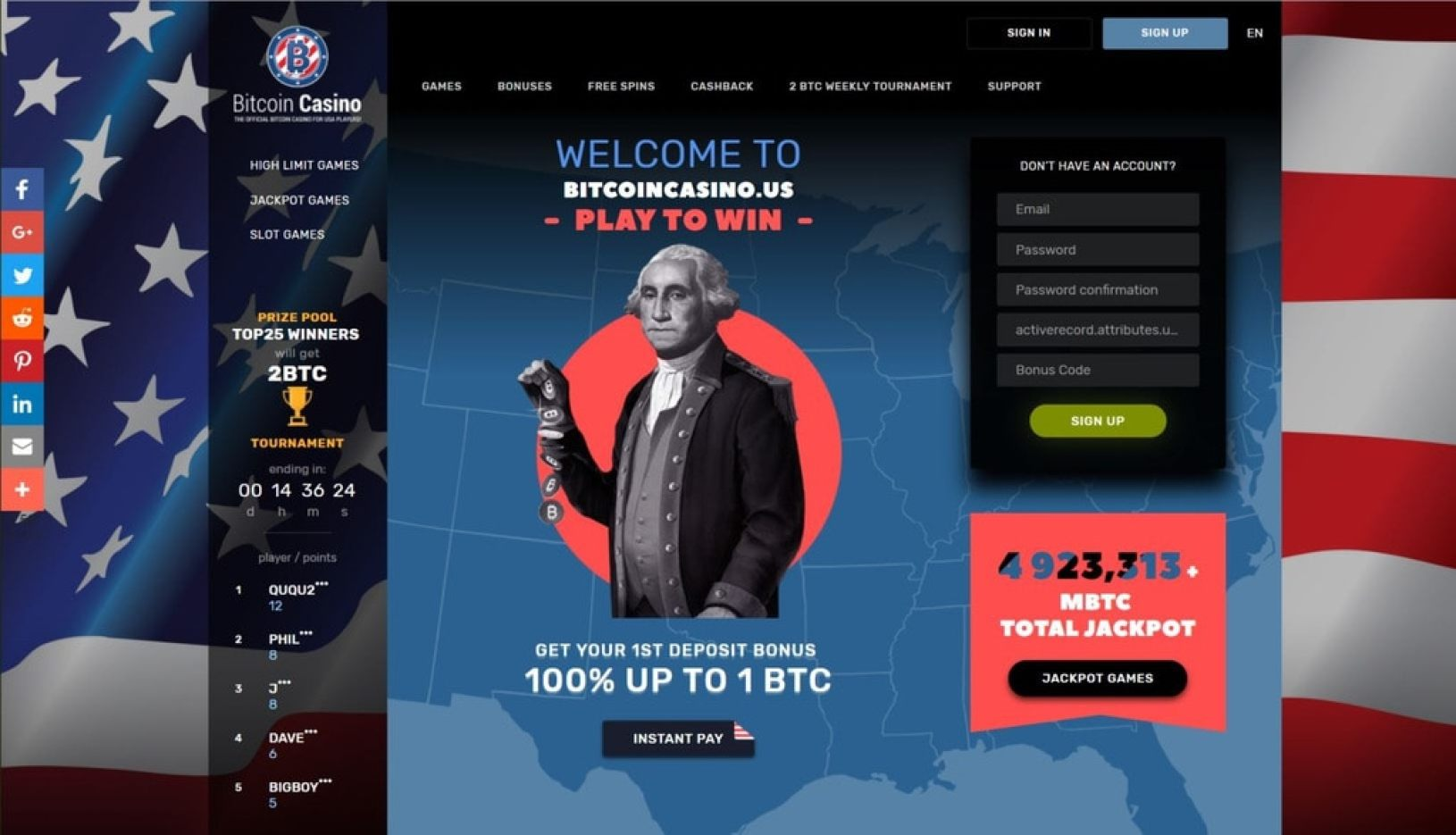 BitcoinCasinoUS New Design Lobby