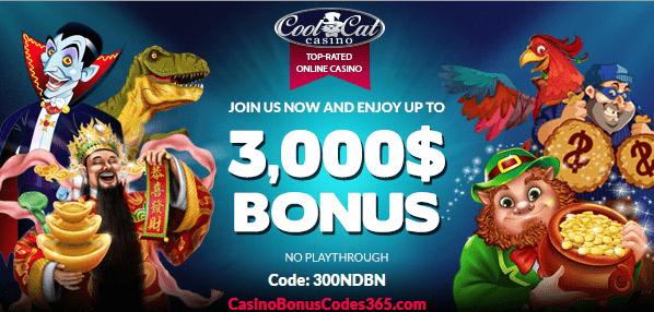 CoolCat Casino 300% No Playthough No Max Bonus