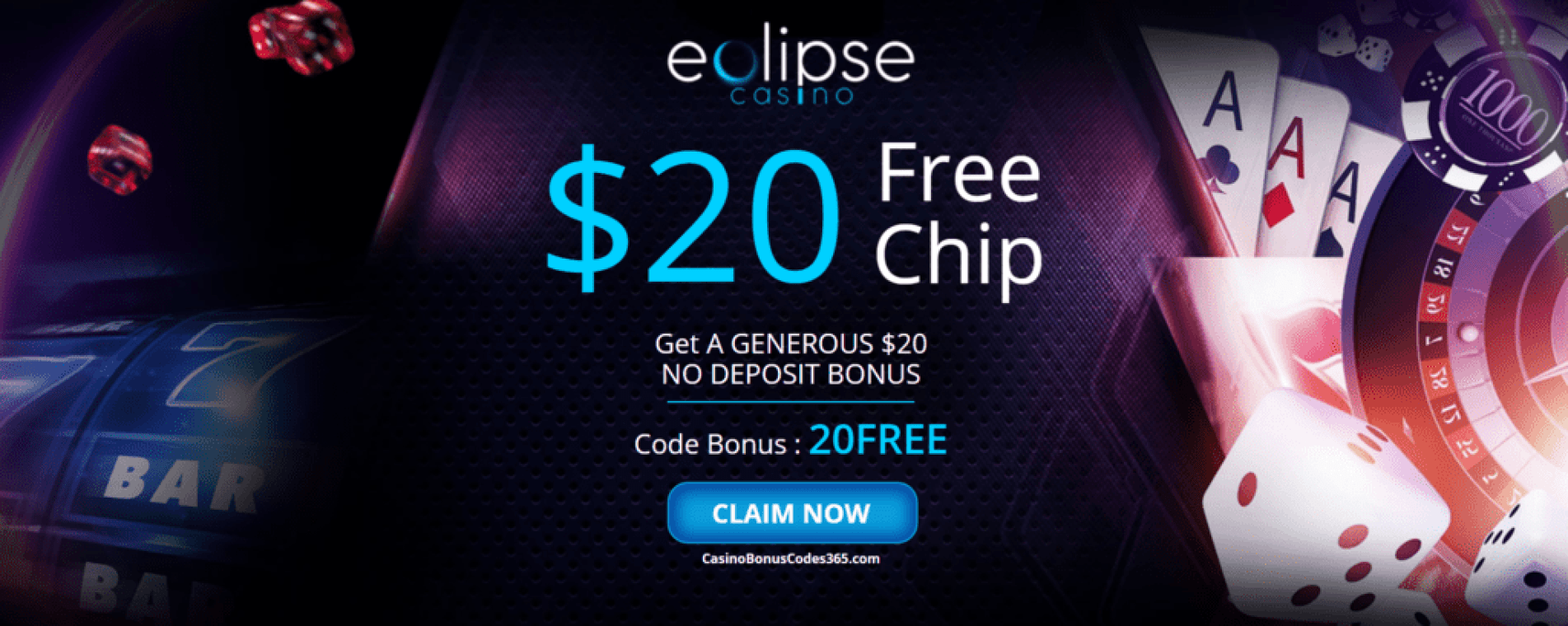 Eclipse Casino $20 No Deposit FREE Chip Welcome Bonus