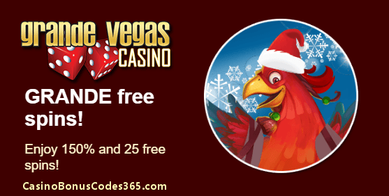 Grande Vegas Casino RTG Kung Fu Rooster 150% and 25 free spins