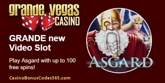 Grande Vegas Casino New RTG Game Asgard 100 FREE Spins